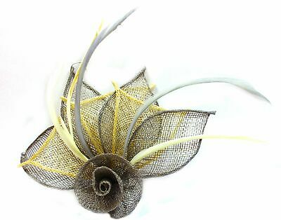 Grey and cream fascinator with hessian rose, petals, and feather tendrils (be...