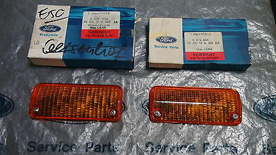 Mk2 Escort Mexico Rs2000 Ghia Genuine Ford Nos Front Flasher Lenses - Pair