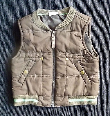 Baby clothes BOY 12-18m brown quilt padded sleeveless jacket/gilet COMBINE POST!