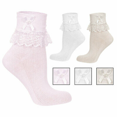 New Babies Girls Jester Frilly Lace Socks 1 Pair or Pack of 3 Cream Pink White
