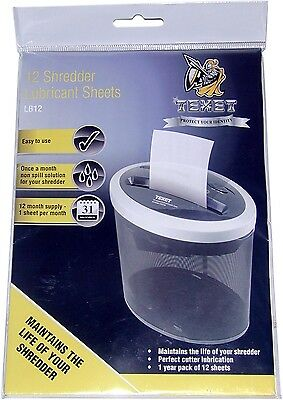 12 Texet Paper Shredder Lubricating Lubricant Sheets Oil for Rexel Fellowes etc