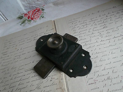 "French antique hardware  iron latch lock slide bolt solid c.1900 marked "" Paris"""