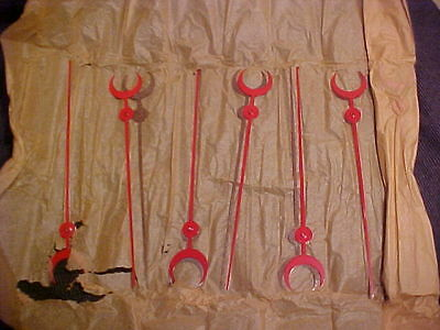"25 NOS Genuine CRESCENT MOON Sweep SECOND HANDS 8"" RED vtg Antique Clock Repair"