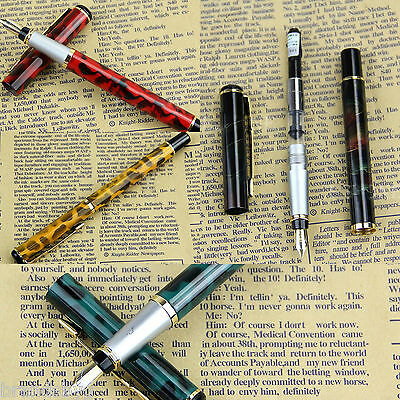 New Caligraphy type Metal Fountain Pen Fine Nib with Black Ink Refilable Bladder