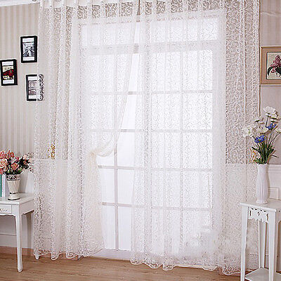 Modern Floral Tulle Voile Door Window Curtain Drape Panel Sheer Scarf Valances