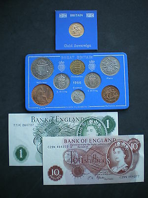 1966 Gold Sovereign Coin & Note set - 50th Birthday or Wedding Anniversary Gift.