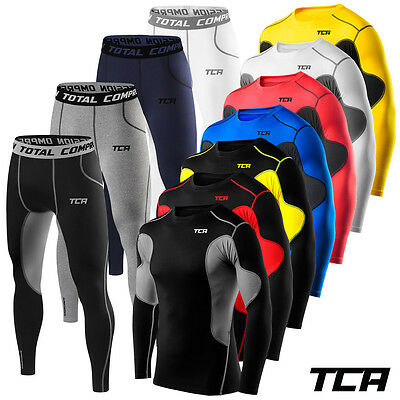 Mens & Boys TCA Superthermal Thermal Compression Base Layer Top + Bottom Gym Set