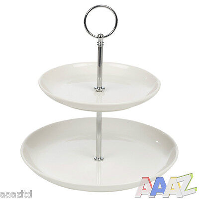 2 Layer Tier Ceramic Round Serving Display Cakes Food Platter Stand Rack Tray