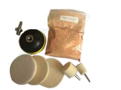 Glass Polishing Kit, Glass Scratch Removal ,4 Oz Cerium Oxide and 3''  Bobs