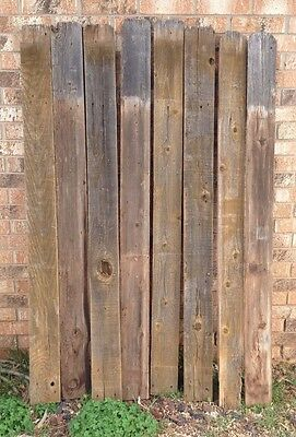 "Vintage Wood Picket Fence Cedar LOT of 8 68"" tall X by 5 1/2"" wide X 3/4"" thick"