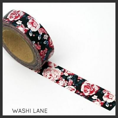 Washi Tape -  Red Vintage Flowers on Black 15mm x 10m Floral Blooms
