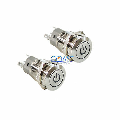2X Car Home Heavy Duty 16mm 12V Green LED Stainless Steel Toggle Power Switch