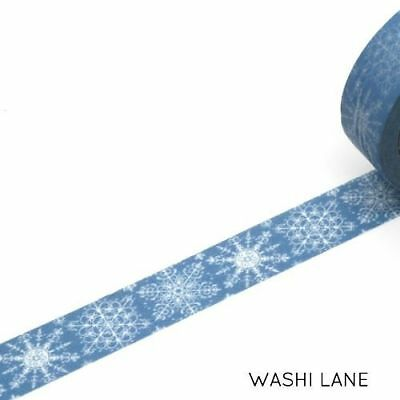 Washi Tape - Snow Flakes Blue 15mm x 10m Pastel Winter Christmas Frozen Xmas