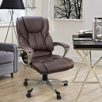 Brown PU Leather High Back Office Chair Executive Task Ergonomic Computer Desk