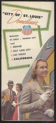 "UNION PACIFIC RAILROAD  ""CITY OF ST LOUIS"" DOMELINER PROMO AD BROCHURE 1950's"