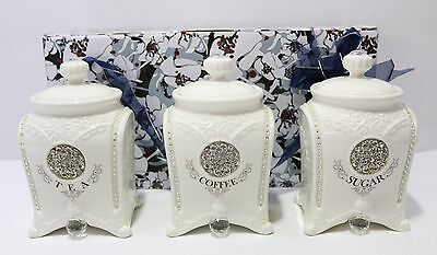 NEW Set of 3 Ceramic Tea/Coffee/Sugar Canisters 18x10x10cm CLAS0012