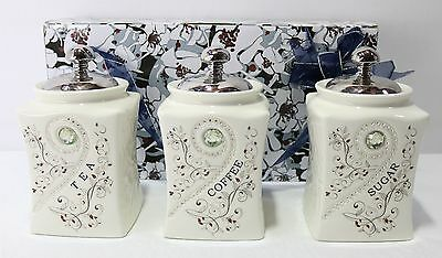NEW Set of 3 Ceramic Tea/Coffee/Sugar Canisters 18x10x10cm 17423