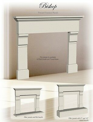 Bishop Cast Stone Fireplace Mantel (mantle) Surround