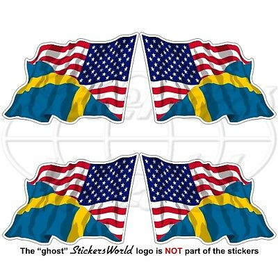 USA United States America-SWEDEN American & Swedish Flying Flag 50mm Stickers x4