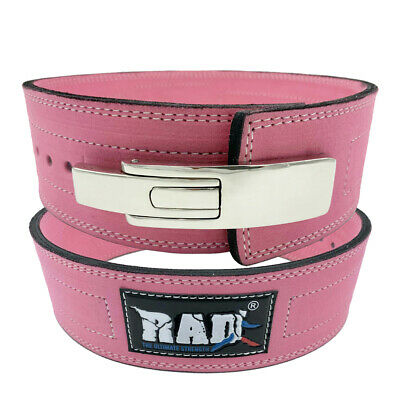 2Fit Weight Power Lifting Leather Lever Pro Belt Gym Training Powerlifting Pink