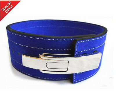 2Fit Weight Power Lifting Leather Lever Pro Belt Gym Training Powerlifting Blue
