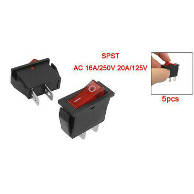 5 pcs 2 Pin SPST Red Neon Light On/Off Rocker Switch AC 16A/250V 20A/125V MJ