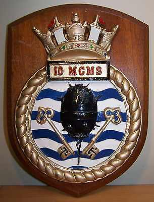 NICE WW2 ROYAL NAVY RN 10th MINE COUNTER MEASURES SQUADRON SHIP BADGE PLAQUE 617