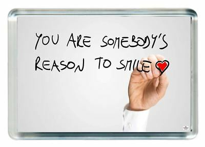 Reason Smile Happy Draw Write Whiteboard Heart Love Quote Gift Fridge Magnet