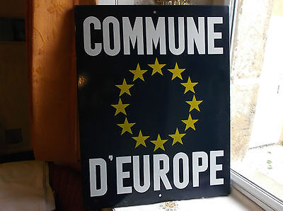 "French large porcelain enamel blue authentic sign ""COMMUNE D' EUROPE"""