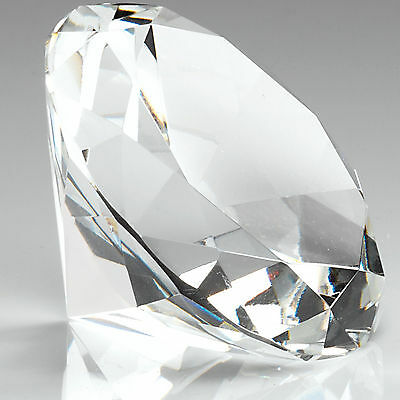100mm Clear Crystal Diamond Shape Paperweight Glass Gem Display Ornament Gift