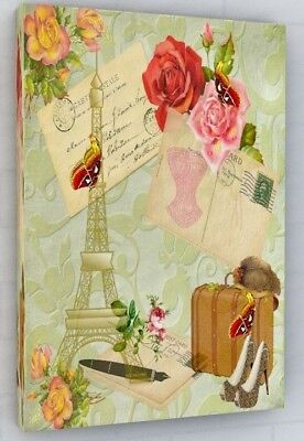 Vintage Paris Shabby Chic Style Flowers Canvas Picture Print Wall Art Large #314