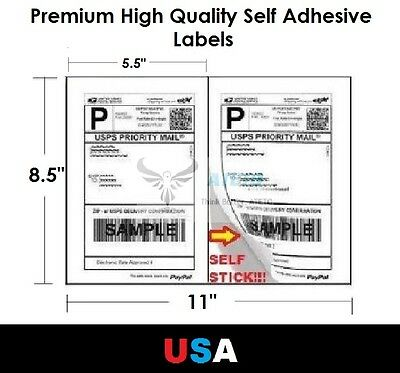 "Premium Self Adhesive 8.5""x5.5"" Laser Shipping Labels 2UP 2 per page"