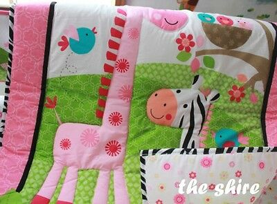 Baby Bedding Crib Cot Quilt Set- NEW 9pcs Quilt Bumper Sheet Dust Ruffle