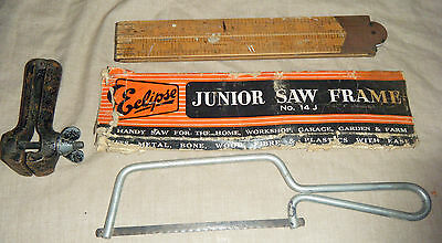 Vintage Woodworking Tools - Eclipse Junior Saw / Rabone Boxwood / Hand Vice