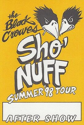 The Black Crowes - Backstage Pass Satin Sticker AUTHENTIC Sho Nuff Summer 1998