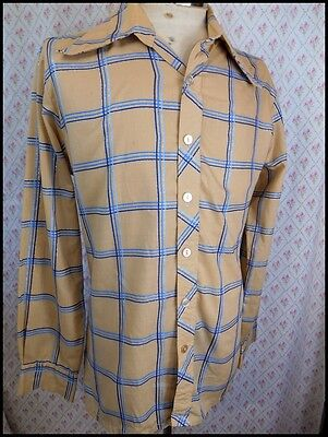 Vintage 60's Tan & Blue Plaid Poly/Cotton Hosma Dress Shirt Shiny Lurex Thread M