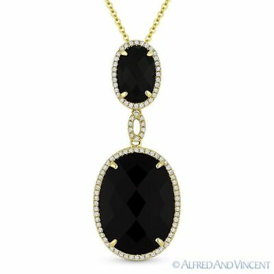 Black onyx 022ct round diamond pave 14k yellow gold pendant black onyx 022ct round diamond pave 14k yellow gold pendant chain necklace aloadofball Image collections