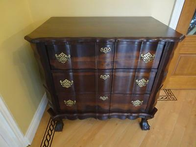 Dutch Walnut Antique Style Serpentine Chest of Three Drawers