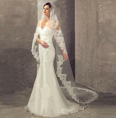 2016 New 3 M Veil White Ivory 1 T Lace Cathedral Long Bridal Wedding Veil