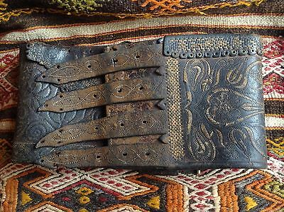 Antique 18.C. World Largest Hand Embroidered Leather Belt Ethnography Lamber Bag