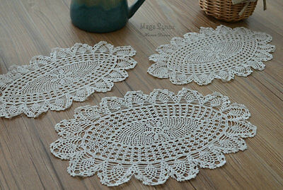 Set 3 White Oval Oblong Hand Crochet Pineapple Doilies Cotton Coasters Lot
