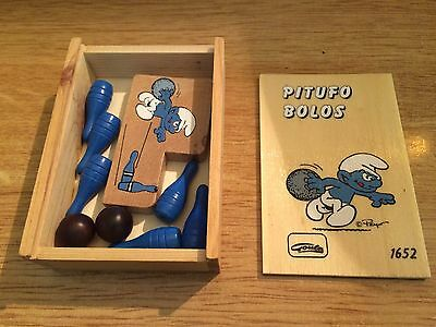 Vintage game box smurf bowling GOULA wood hand made Spain 11x8cm new old stock