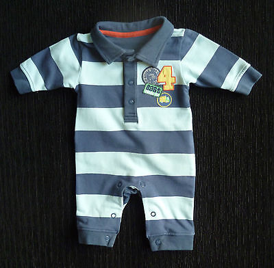 Baby clothes BOY newborn 0-1m M&S blue stripe playsuit/all-in-one COMBINE POST!