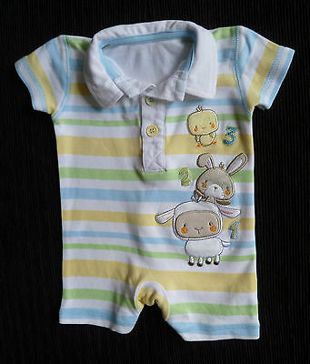 Baby clothes BOY newborn 0-1m<9lbs/4.1kg George animals stripe polo-style romper