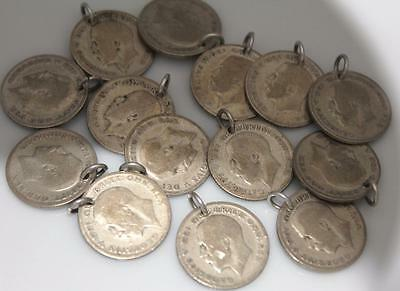 VINTAGE SILVER SIX PENCE COIN CHARM for BRACELET / Pre 1946