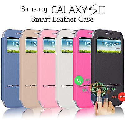 For Samsung Galaxy S3 SIII i9300 Flip Leather View Window Case Stand Cover Skin