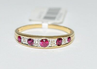 CLEARANCE 9k Yellow Gold Red/Pink Stone Eternity Anniversary Ring 1.5gm #675133