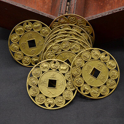 Chinese 12 Zodiac Pattern Feng Shui Lucky Coins Bless Fortune Coins Random 10pcs