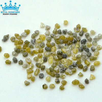 5 crts 100% Natural Loose Rough Diamonds Fancy Yellow-Grey 2.20mm raw uncut real