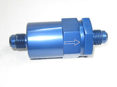 06 AN male in-line Fuel Filter,cleanable element , Blue anodized Alum